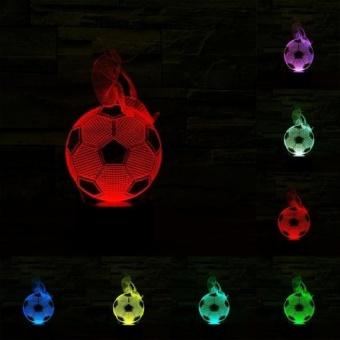 Berpikir Sepak Bola Gaya Pengisian USB 7 Warna DiscolorationCreative Visual Stereo Lampu 3D Touch Switch Control LED Light DeskLamp Night Light. Ukuran Produk: 25.3X10.7X8.7 Cm-Intl