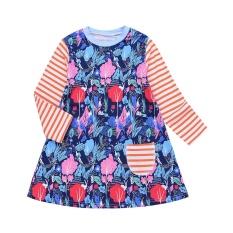 Perempuan Anak-anak Bayi Balita Pohon Hutan Cetak Putri Stripe Gaun Pakaian Pakaian-Internasional