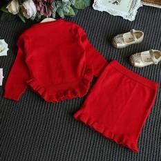 Balita Anak-anak Pakaian Baju Anak-anak Pakaian Rajutan Sweater Pullover Atasan + Rok Set-Intl