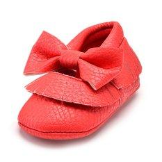 Balita Super Ribu Tassel Crib Sepatu Bayi Tunggal Lembut (Merah)-Intl