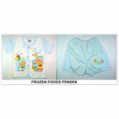 Tokusen Setelan Baju Pendek Motif Frozen Food Biru