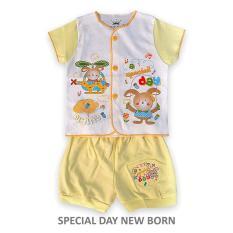 Tokusen Setelan Baju Pendek Motif Special Day Kuning - New Born
