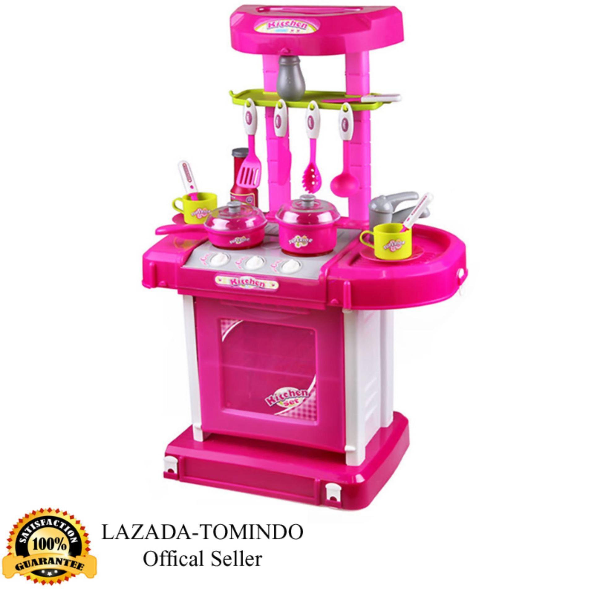 Tomindo Toys Mainan Anak Kitchen Set Luggage Pink / kitchen koper pink / Masak Masakan /
