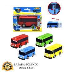 Tomindo Toys  Tayo The Little Bus 1 set 4 pcs (Paking Dus Per Pcs) - 1001 / (Pull Back Car Play Set Mainan Anak Mobil Bis Karakter Tayo Rogi Lani Gani) (Ukuran BESAR)