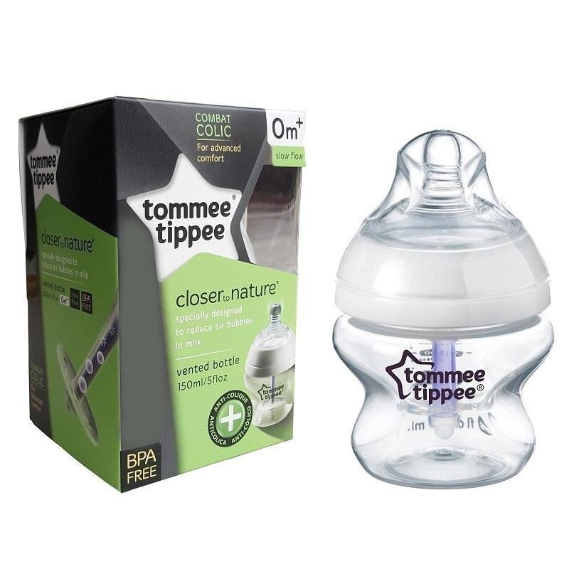 Tommee Tippee Botol Susu Bayi Closer To Nature Vented bottle Anti Colic 150ml Isi 1