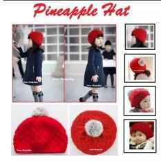 topi nanas - pineapple hat - topi bayi korea cewek - topi anak perempuan rajut lucu best seller