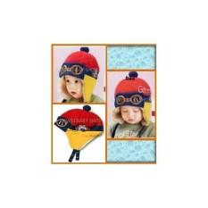 Topi bayi baby batita red gaul lucu murah pilot Hat keren unik