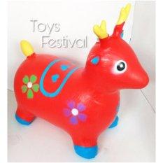 Toys Jumping Animal Music / Mainan Tunggang Karet Merah - Kambing/rusa/kuda/sapi By Toys Festival.