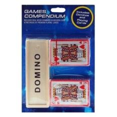 Triple Game Set-Domino Kayu Dalam Kasus Dan 2 X Deck Of Playing Kartu-Intl