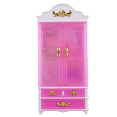 Ubest Pink Closet Wardrobe for Princess Doll House Bedroom Furniture Miniature Pink - intl