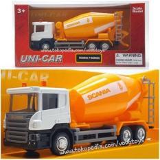 Unicar Cement Mixer Scania Truck Diecast - C5cded - Original Asli