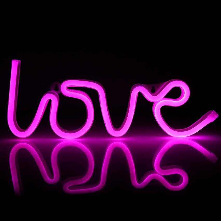 USB/Battery Powered LED NEON SIGN Light Dinding Latar Belakang Pernikahan/Natal Dekorasi Lampu (Pink)-Intl