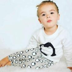USTORE Autum Orok Bayi-bayi dan Anak-anak 3 Buah/set Kemeja Katun Lengan Baju Panjang + Celana + Bando Hitam And Putih And Kelabu