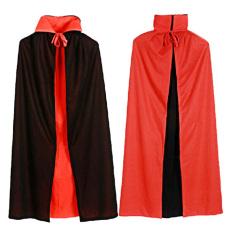 Cape DRACULA Vampir Jubah untuk Wanita, China Kostum Fancy Dress Halloween 120 Cm L Merah Hitam Reversibel