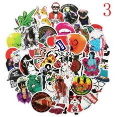 Veecome 50 Pcs/set Stiker Campuran Lucu Kartun Doodle Stiker Untuk Laptop Koper Mobil Diy Rumah Dekor Stiker Mainan Anak-Anak Aksesoris Musik Instrumen-Internasional By Veecome.