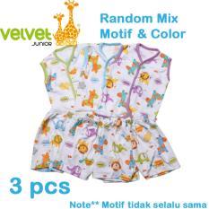 Miliki Segera Velvet Junior Basic Baby Setelan Kutung Kancing Depan Celana Pendek Isi 3 Pcs M