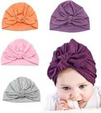 Venus888 Keren Baru Lahir Anak Laki-laki Nursery Beanie Hospital Topi Lembut Kapas Dapat Disesuaikan Rajut Simpul Topi (4 Pcs Simpul Tutup) -Internasional