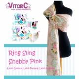 Kualitas Ring Sling Vitorio Shabby Pink Selendang Fiber Katun Halus Gendongan Vitorio