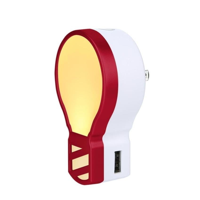 Voogol Pasang LED Night Light dengan 5 V 3.1A Dual USB WallCharger. Adjustable Kecerahan Lampu Malam untuk Kamar Mandi BedroomWith 2 Warna Cahaya-Intl