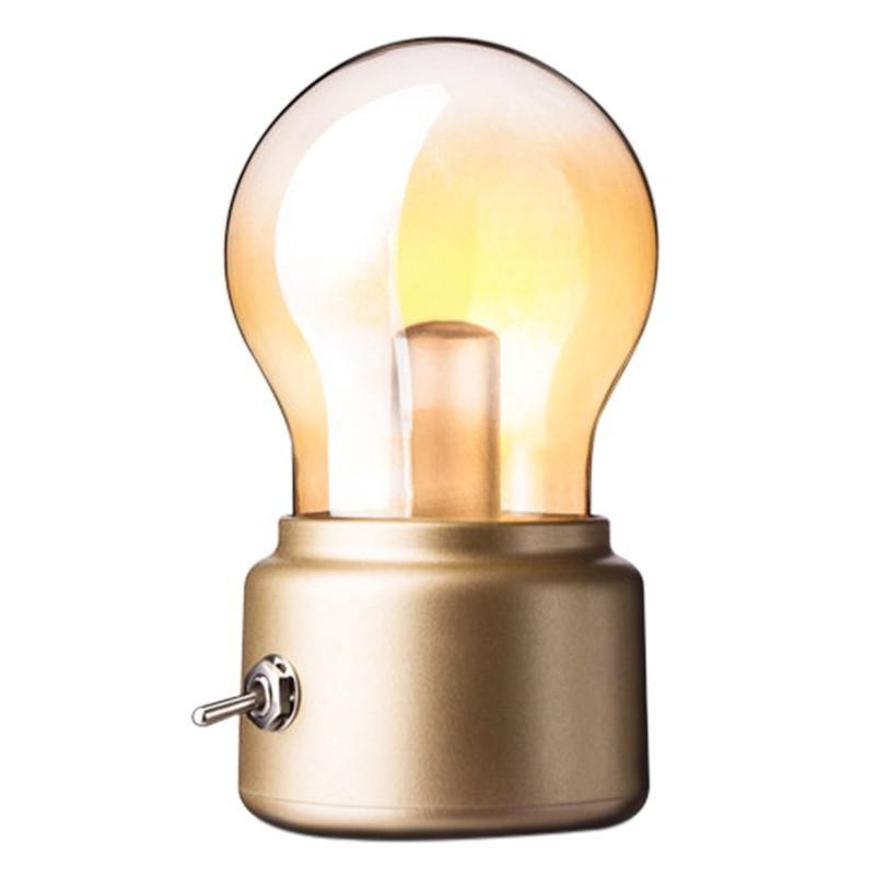 VORSTEK Retro Buld Bentuk Lampu Meja Rechargeable USB Dekoratif LED Night Light-Intl