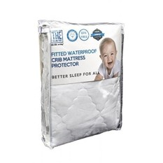 Waterproof Crib Mattress Cover Protector and Sheet in One Hypoallergenic & Breathable Cotton, Thin, Smooth & Elastic Fabric For A Snug Fit Protects Baby Against Dust Mites & Fluids - intl