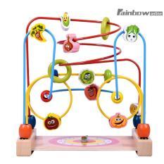 Kayu Manik Maze Selai Children Manik-manik Rollercoaster Maze Puzzle Mainan-Internasional (Multicolor