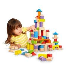 Wooden Block Set ( Balok Kayu) 31 Pcs Multicolour Rumah & Istana By Yeppeunstore.