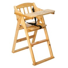 Wooden Folding Baby Highchair - Fold-away Baby High Chair Beech Colour - intl