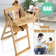Wooden Folding Baby Highchair - Fold-away Baby High Chair Beech Colour - intl