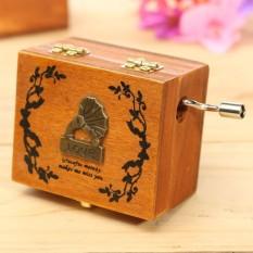 Wooden Hand Crank Sankyo Musik Box Memory Soundtrack Tema Heart Lock Pola Phonograph-Intl