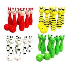 Kayu Kayu Bowling Ball Game Skittle Animal Shape KIDS Anak Mainan Hadiah-Intl -- Intl