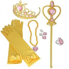 XiangGuanQianYing Tiaras and Crowns for Little Girls 8Pcs Set with Princess Wands Princess Gloves Princess Tiara Necklaces Earring and Ring - intl