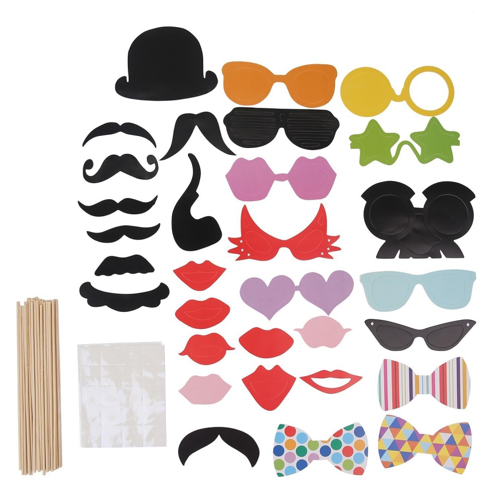 XUNMEI Photo Booth Props DIY Kit For Halloween Christmas Wedding Birthday Graduation Party,Photobooth Dress-up Accessories Party Favors,58 Set - intl