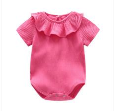 ... TTKA baju bayi terusan musim panas Bayi perempuan pinggir daun teratai TRIANGLE jumpsuit Bayi baru lahir