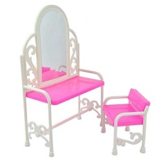 Yiding Modis Dressing Meja dan Kursi Set untuk Boneka Barbie Bedroom Furniture-Internasional