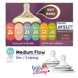 Harga Yooberry Avent Natural N*ppl* Dot Botol Bayi Medium Flow 3 Lubang 3M Avent Asli