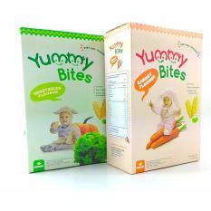 Spesifikasi Yummy Bites 2 Box Biskuit Yummy Bites Rice Cracker 50 Gram Rasa Sayur Dan Wortel Dan Harganya
