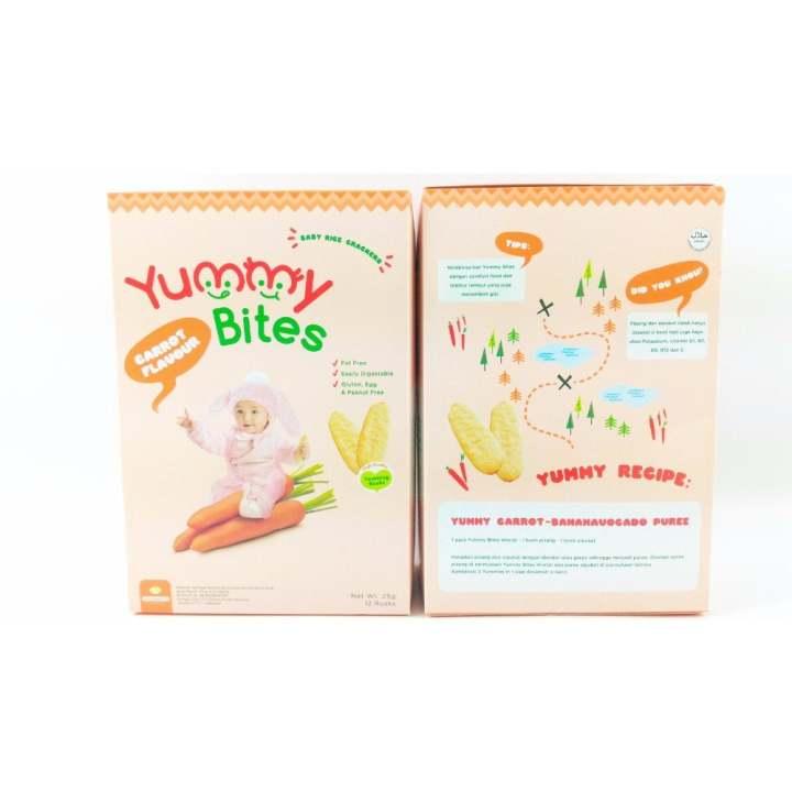 Yummy Bites - makanan bayi biskuit Rice Cracker 25 Gram- Carrot Flavour wortel