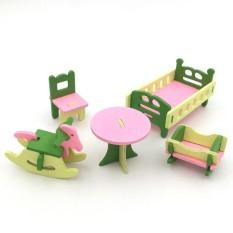Yunmiao Kreatif Simulasi Kayu Furniture 3D Assembly Puzzle Set Bahan Kayu: kamar Bayi-Internasional
