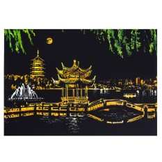 Yunmiao DIY Gores Bright City Night View Scraping Painting Dunia Tamasya Gambar Sebagai Hadiah Gaya: Hangzhou West Lake-Intl