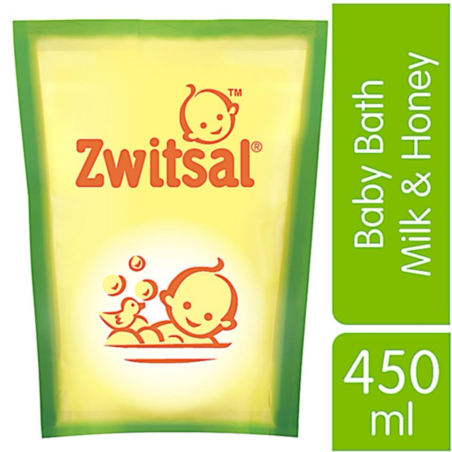Menutrisi & melembutkan kulit bayi Zwitsal Baby Bath Natural dengan Milk & Honey Refill - Pouch - 450mL