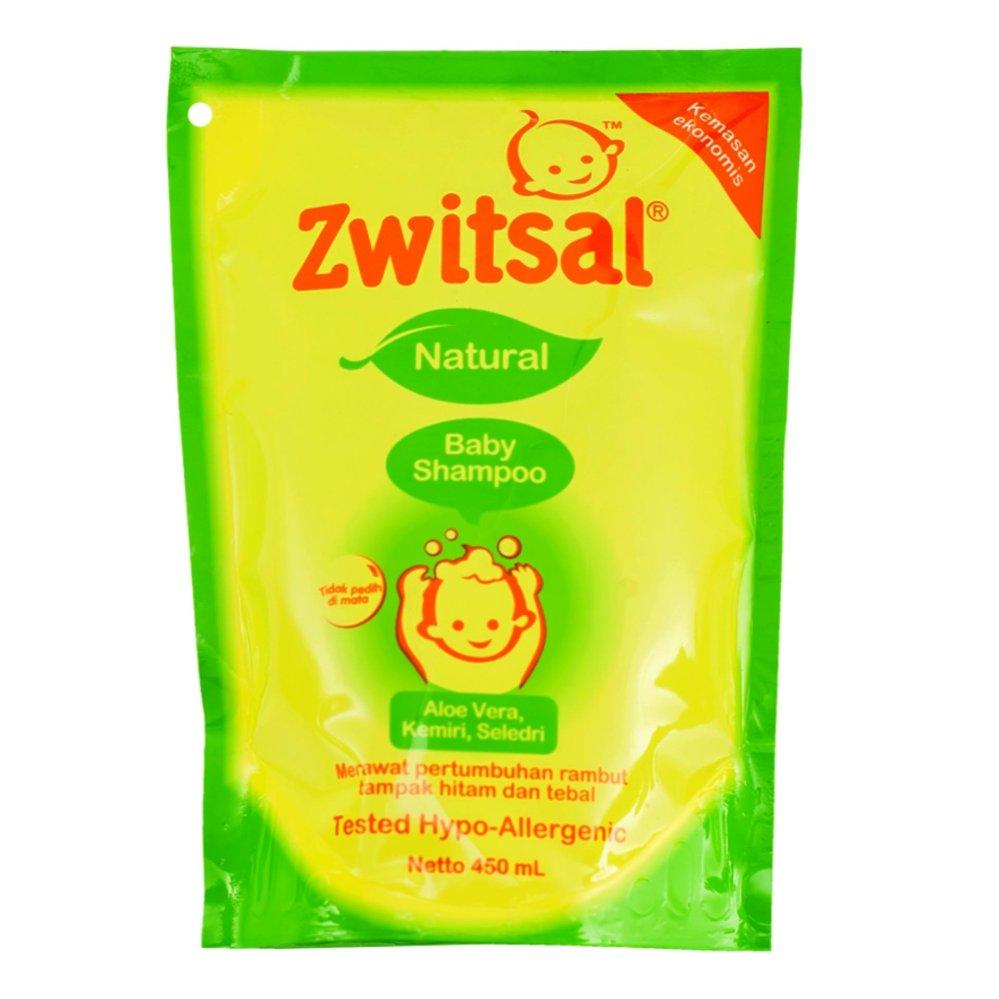 Bahan natural yang aman untuk bayi ZWITSAL BABY SHAMPOO NATURAL ALOE POUCH 450ML