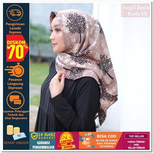 Nusantara Heritage SEGITIGA INSTAN MOTIF KODE IX Hijab Jilbab Segi Empat Square Pashmina Kerudung Khimar Pesta Kondangan Nikahan Simple Pet Instan Instant Bergo Kekinian Trendy