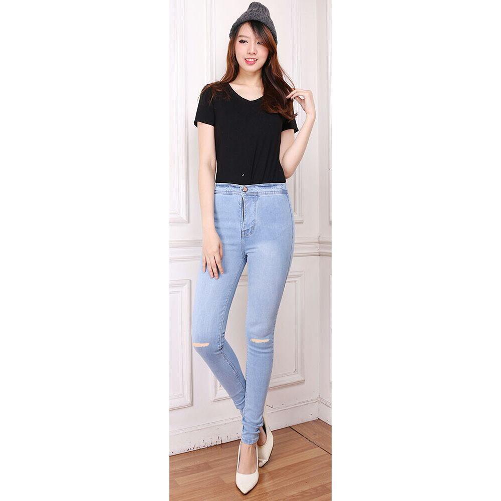 Ab Fashion Wanita - Celana Jeans Wanita - High Waist Jeans - Premium Quality - Sobek