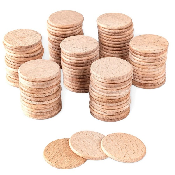 100 Pieces Round Unfinished Wood Cutout Circles Chips for Arts & Crafts Projects, Board Game Pieces, Ornaments