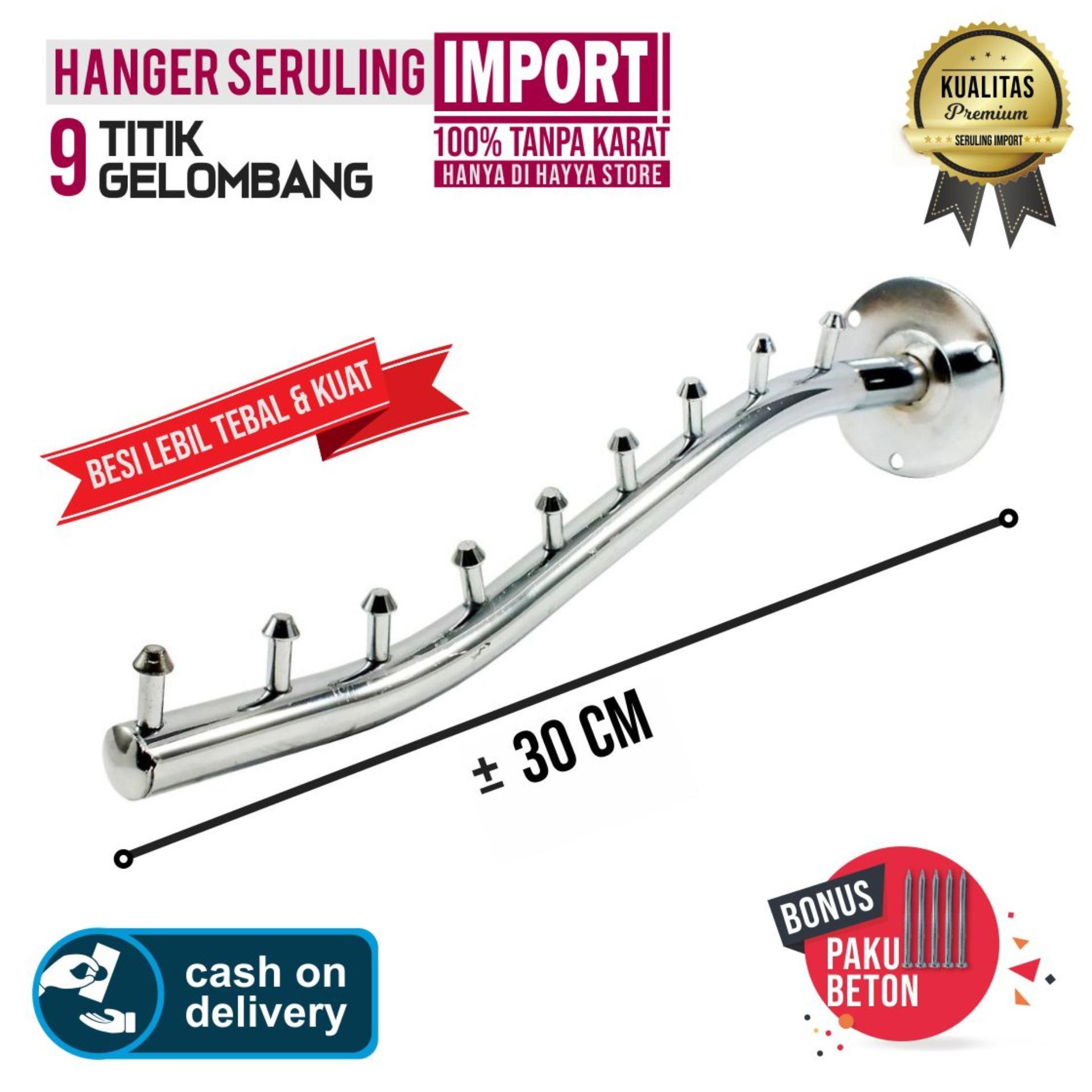 Hanger Gantungan Baju Model Seruling Tembok 9 Titik - Import