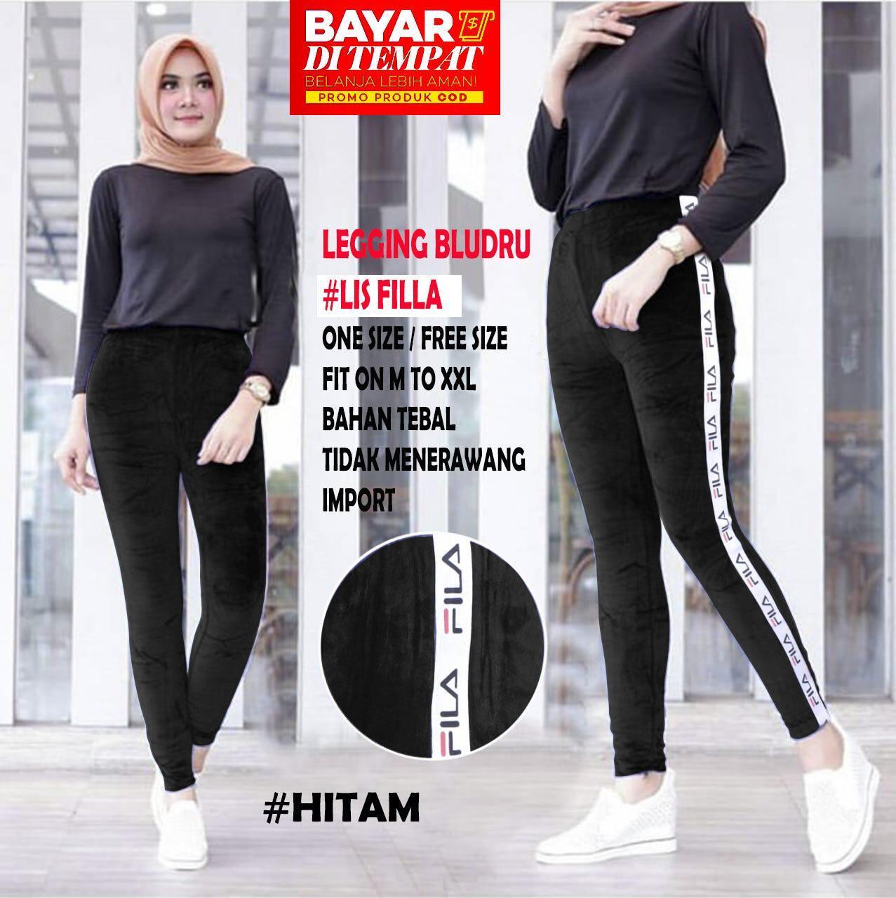 Frozz Legging List Bludru Fila Celana Panjang Celana Wanita Lazada Indonesia