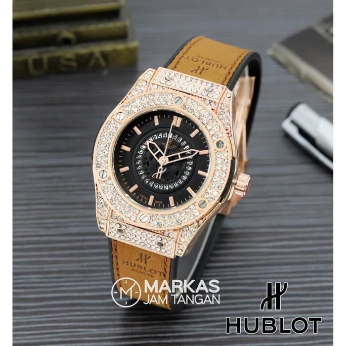 Jam Tangan Wanita HUBLOT Classic Diamond Leather Strap Wtch