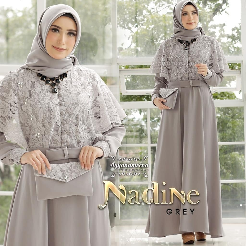 Nadine Long Dress Brukat / Baju Gamis Wanita Terbaru 12 / Gamis Remaja  Modern / Gamis Pesta Mewah / Gamis Kondangan / Busana Muslim Terbaru