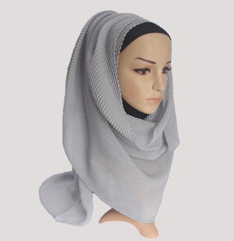 Pleated Hijab MS38 Impor Jilbab Plisket Pashmina Muslim / Shawl Katun Modis Cutton Crinkle Scarf